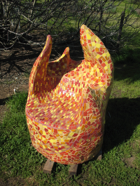 """""""Home Flame"""" 49""""x38""""x41"""" Ceramic, mosaic, steel, and cement 2009"""