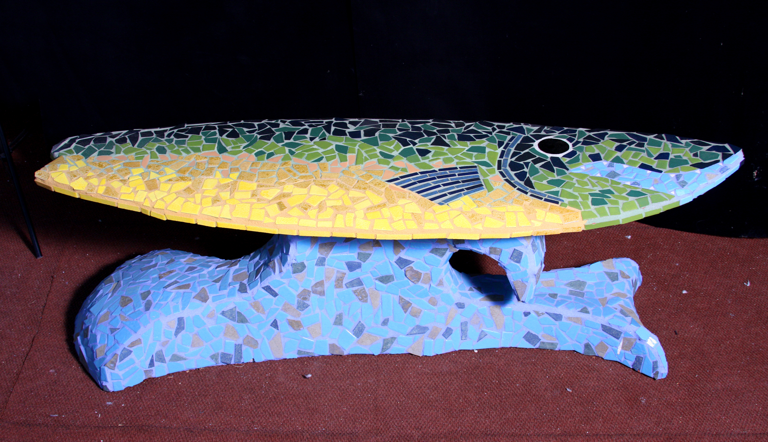"""""""Trout Surf"""" (Bench) 23"""" x 71"""" x 21"""" Ceramic tile and cement 2010"""