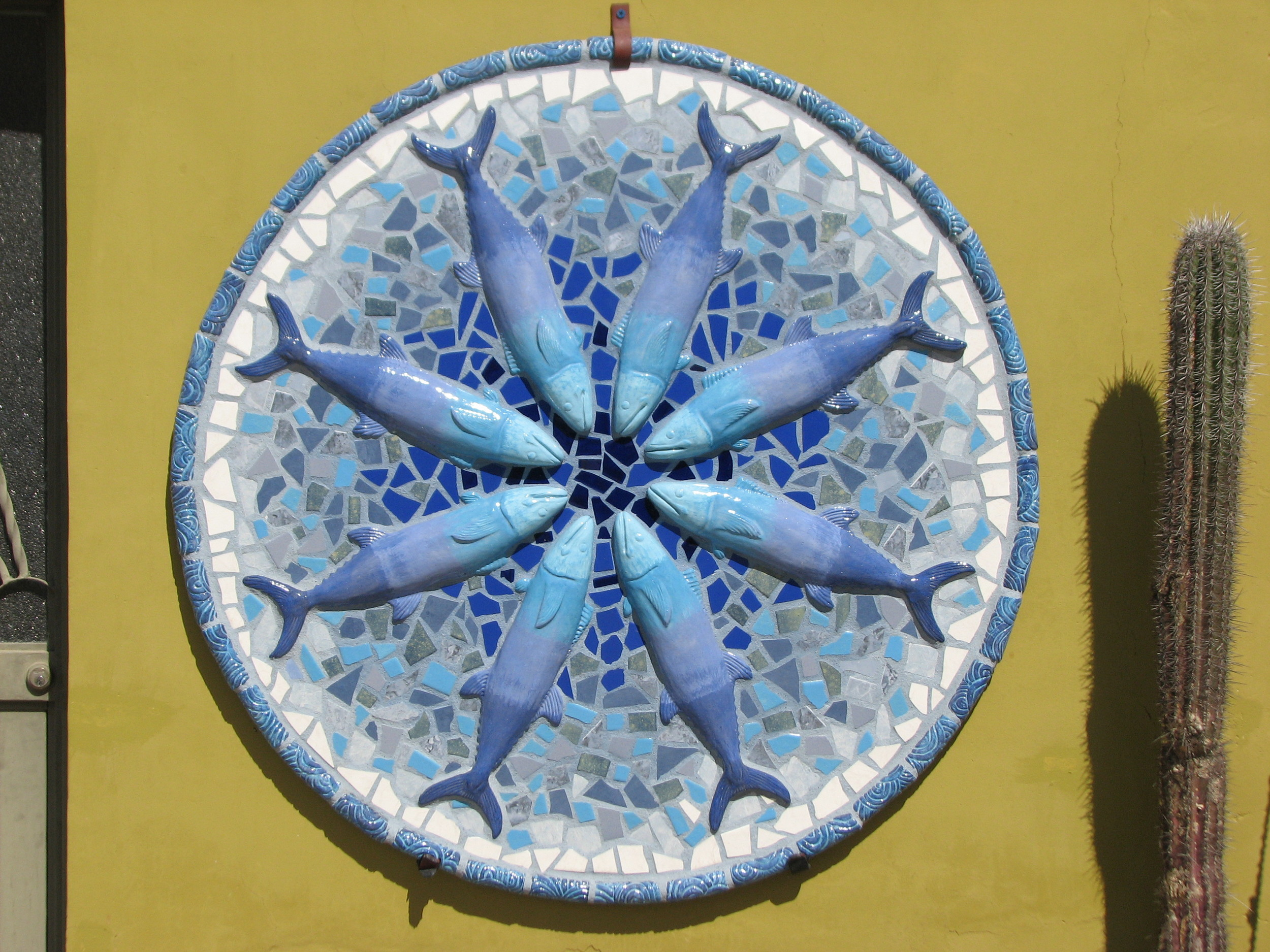 """Sierra Mandala"" 48""x48"" Ceramic and cement 2013"
