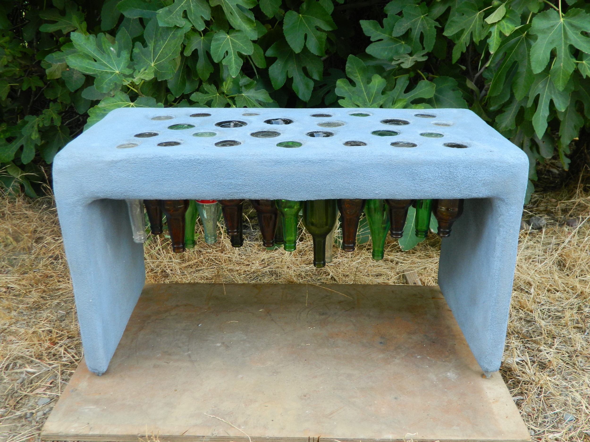 "Bottle Bench 18""x32""x16"" Glass bottles and cement 2013"