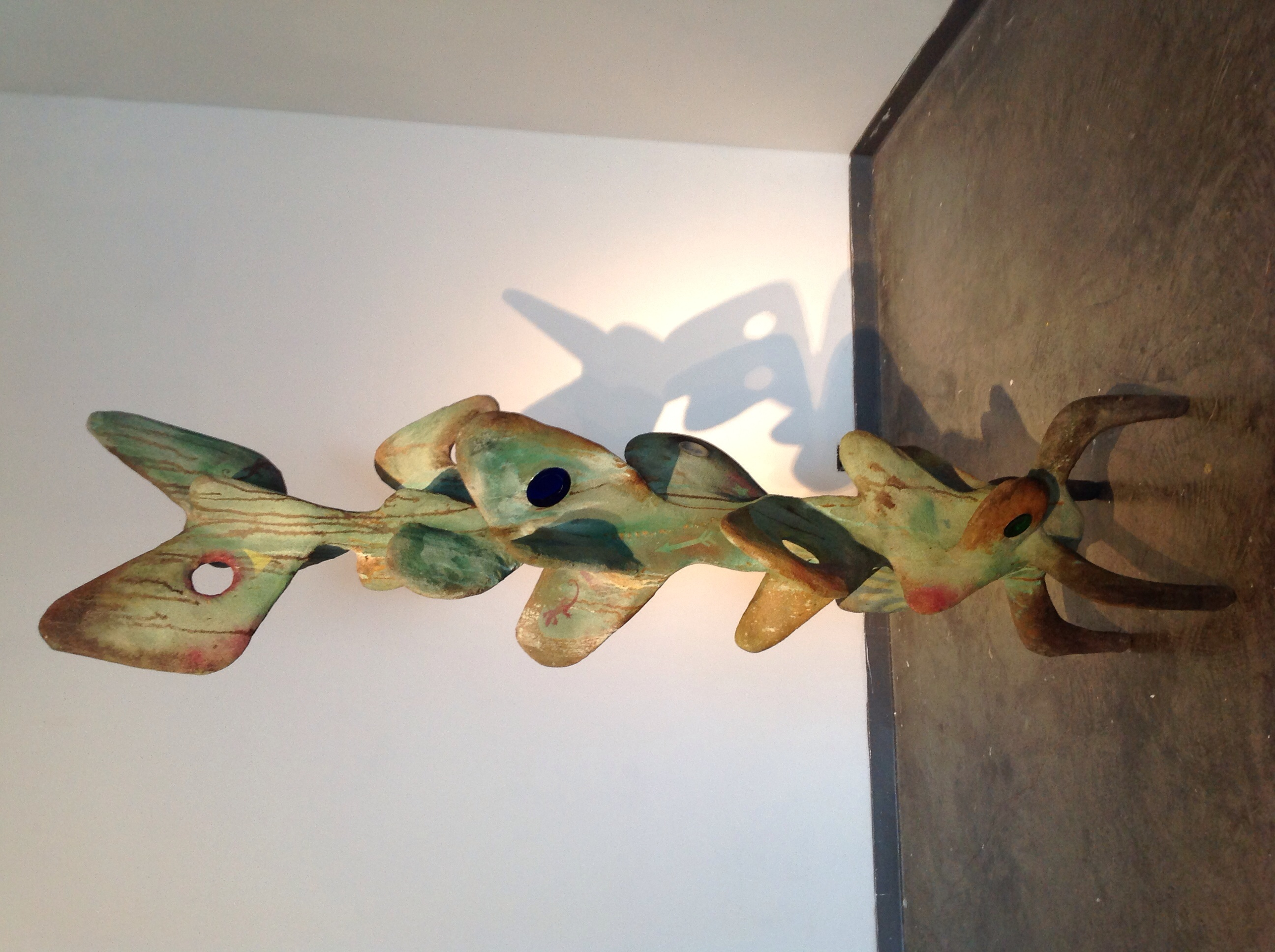 """Wes Horn """"Cactus Totem"""" Acid stained cement 96""""x 27""""x28"""" 2014"""
