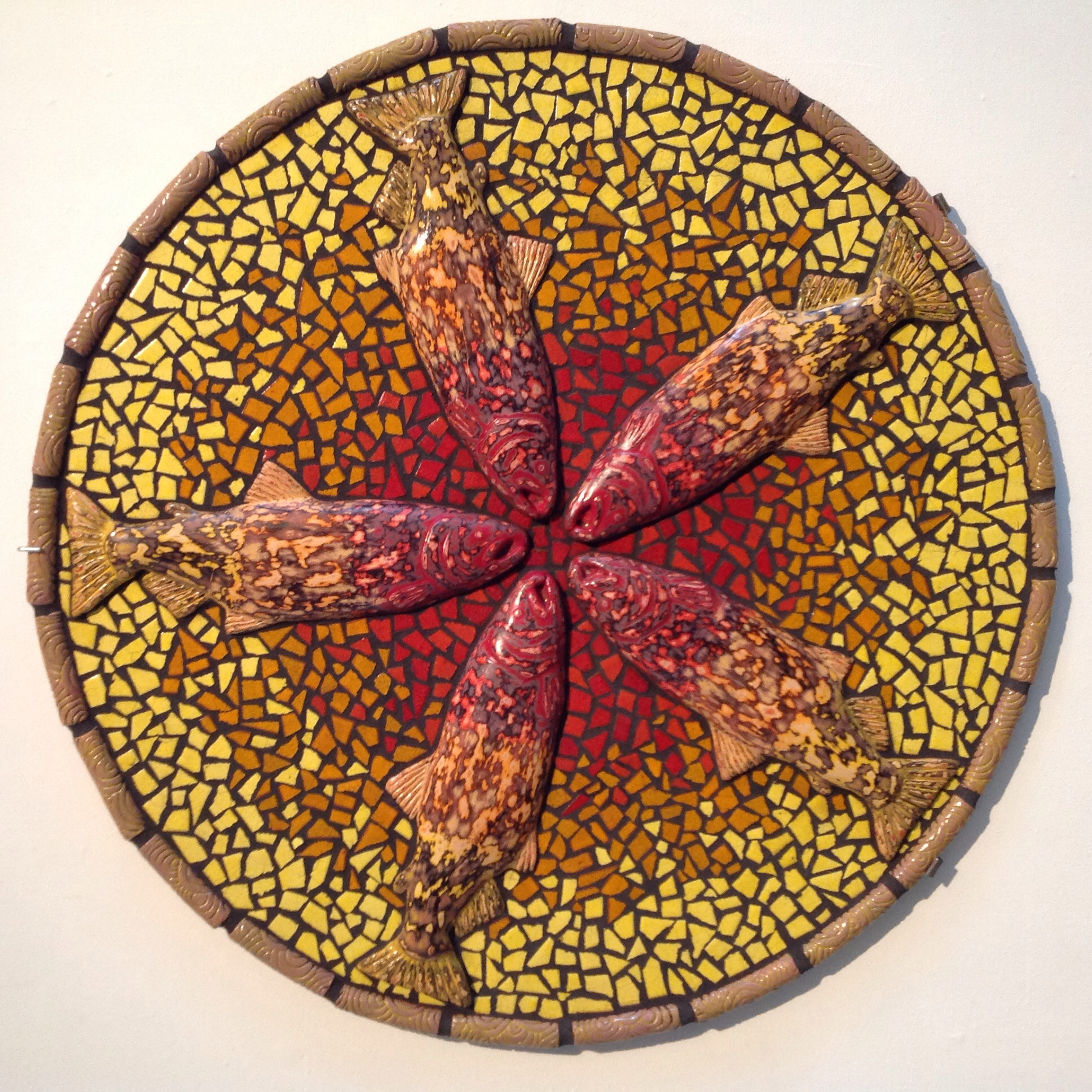 """Wes Horn """"Salmon Sun"""" Ceramic tile and cement 50""""x50"""" 2014"""