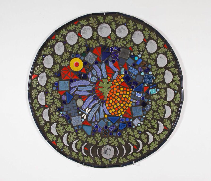 """Wes Horn """"Valley Night Mandala"""" Ceramic tile and cement 50""""x50"""" 2014"""