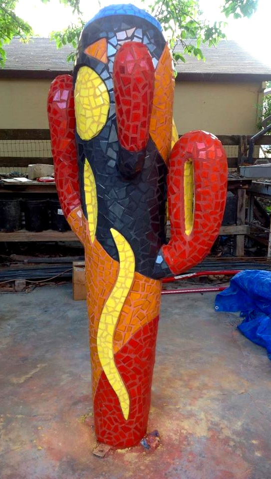 """""""Santa Fe Cactus"""" 81""""x30""""x30"""" Ceramic Tile and Cement 2013"""