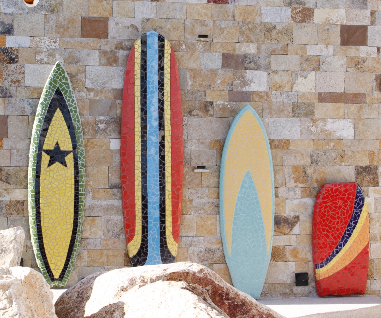 Starting in 2016,  Chileno Bay Resorts and Residencies , in San Jose del Cabo, B.C.S, MX, commissioned mosaic surfboards for their properties. To date I have created over 70 unique surfboard designs and mosaic murals for their various villas at our  Todos Artes Studios .