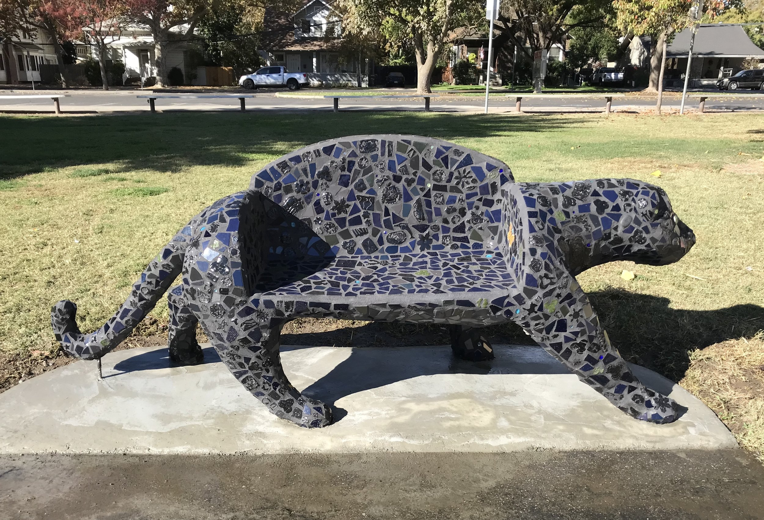 """Panther Bench"" 42""x8'x30"" Ceramic Tile and Cement 2018 Located at Dingle Elementary in Woodland CA, includes student-made tiles"