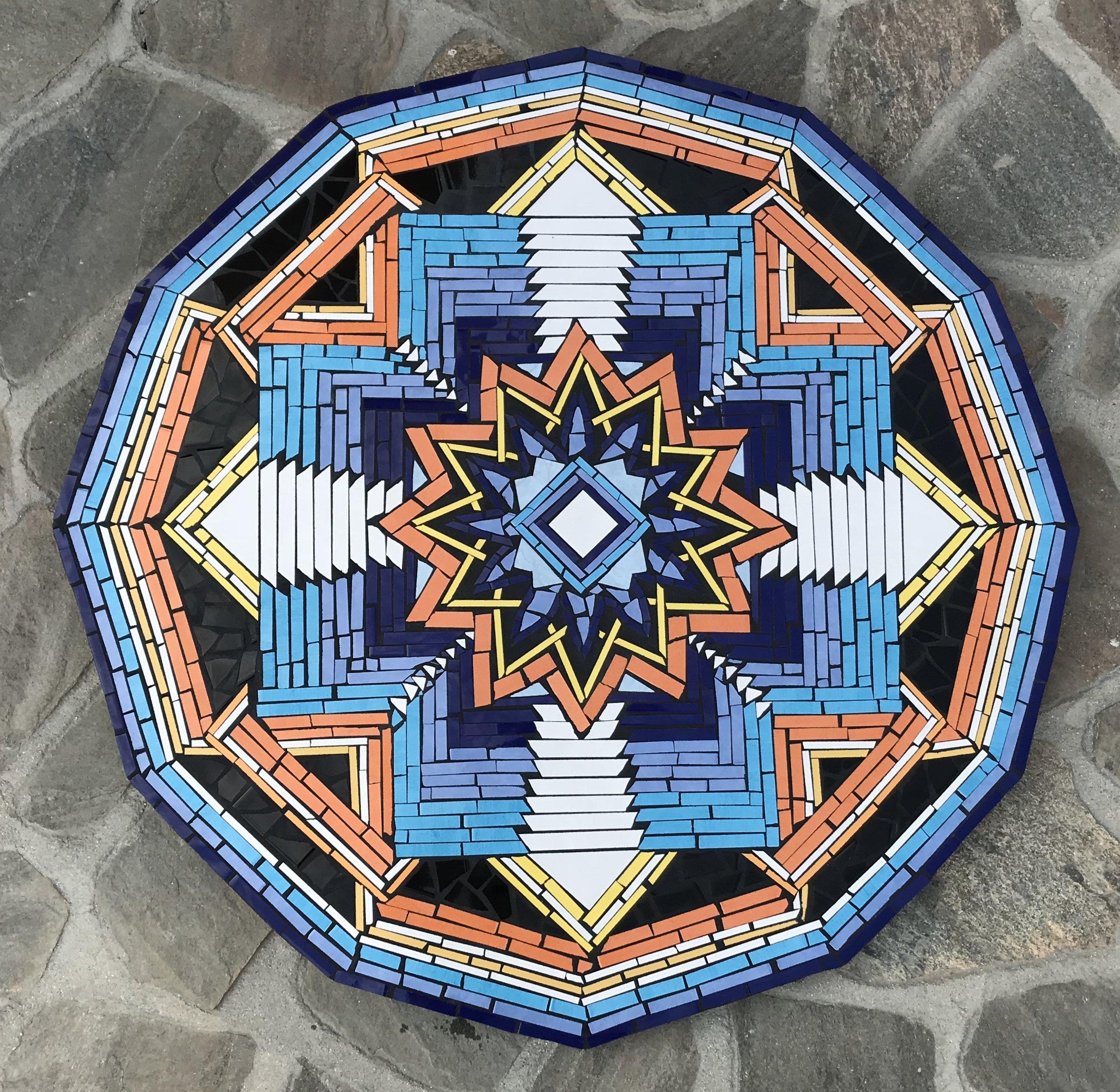 """Ojo de Dios II"" 50""x50"" Ceramic Tile and Cement 2018"