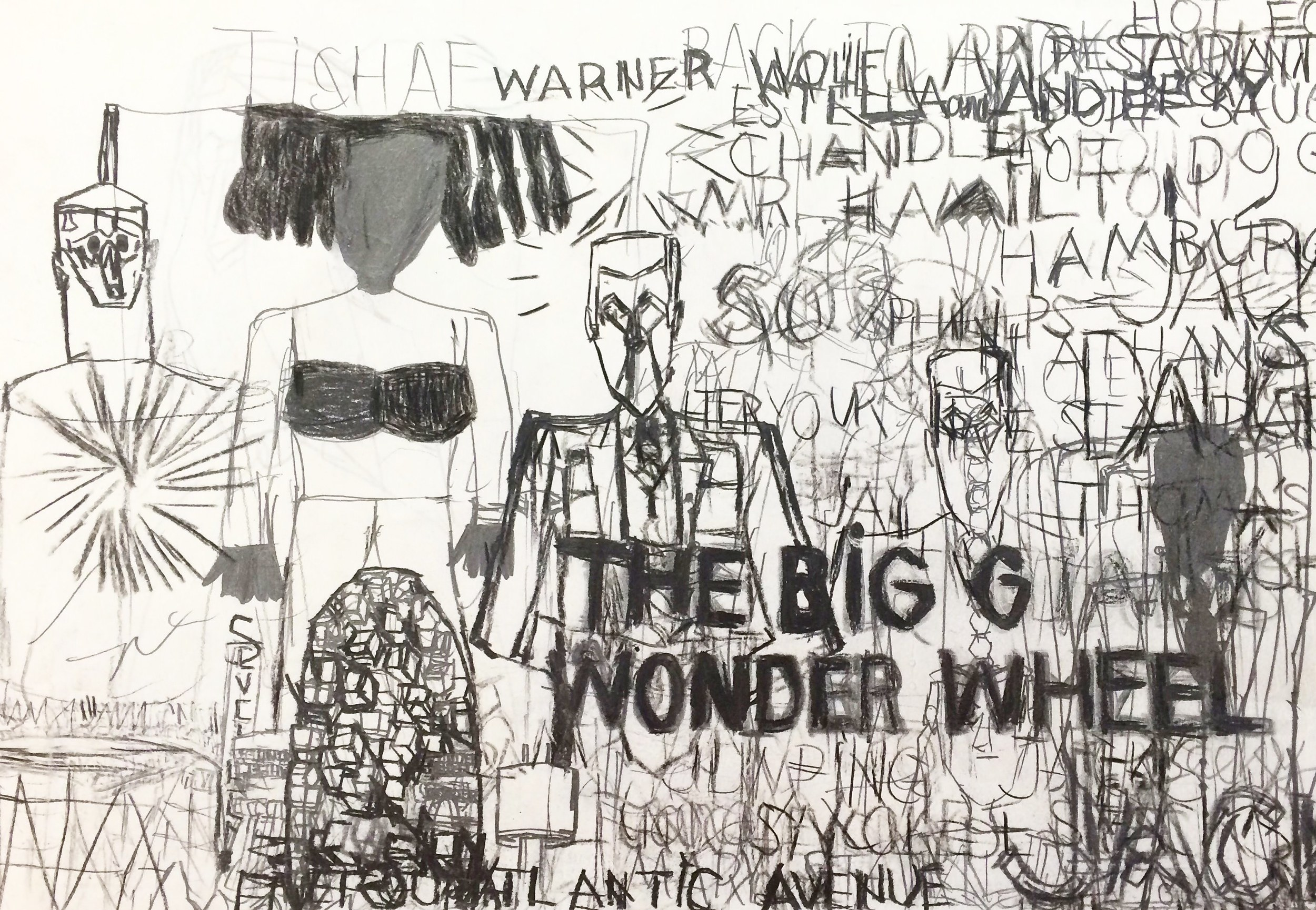 "Garrol Gayden, The Big G Wonder Wheel, 2015, Pencil on Paper, 11""x17"""
