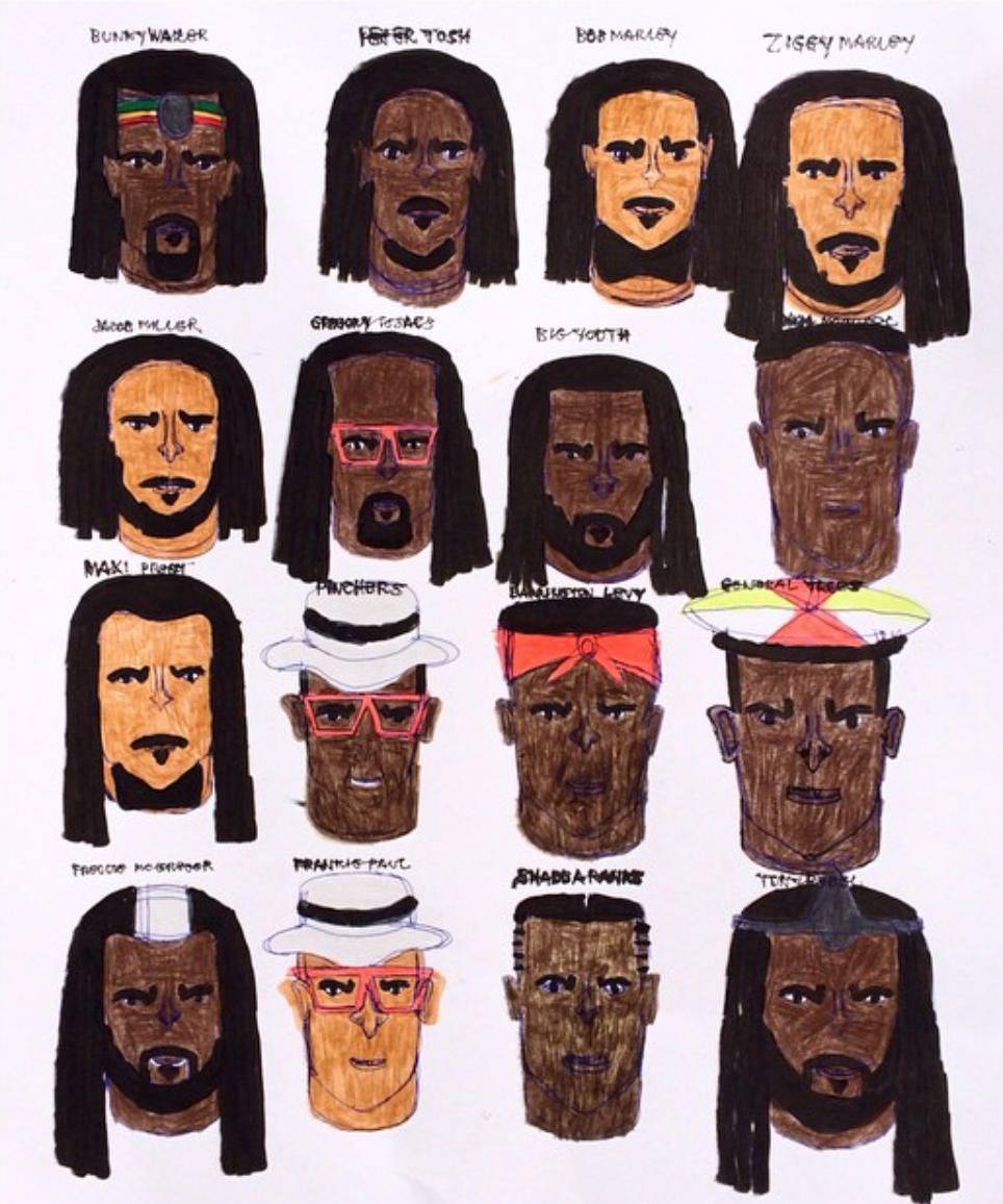 "Kenya Hanley, Reggae Greats, 2015, Ink on Paper, 24""x19"""