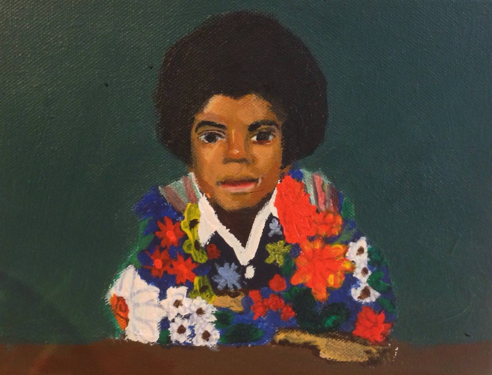 "Myasia Dowdell, Michael Jackson, 2013, Acrylic on Canvas, 8""x10"""