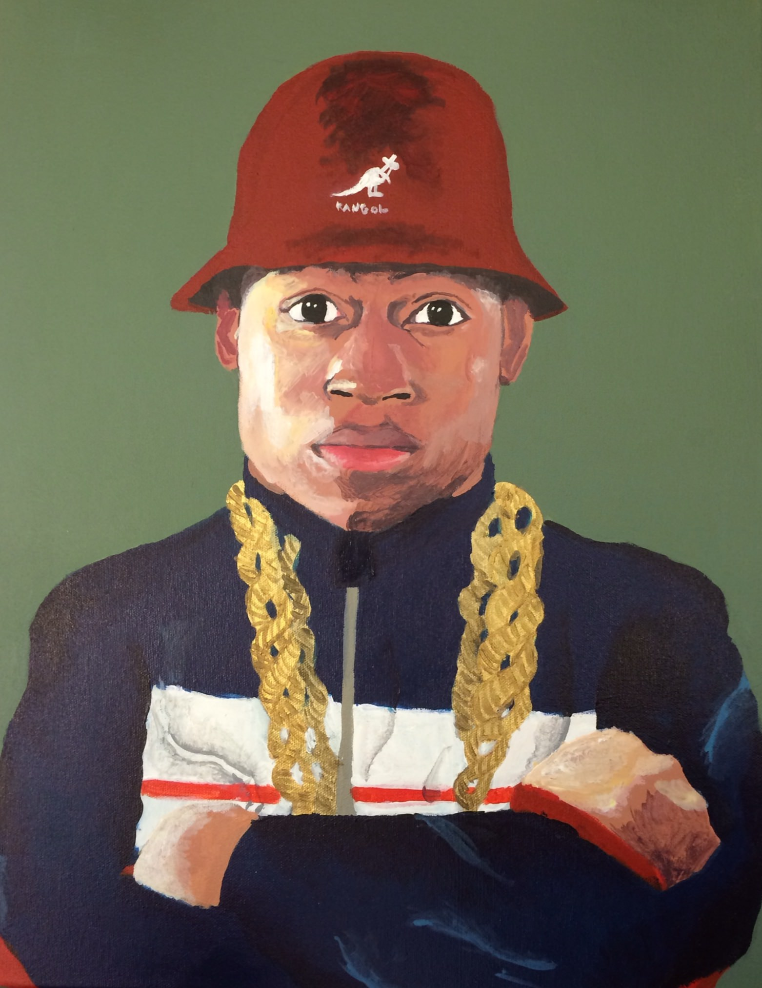"Myasia Dowdell, LL Cool J, 2015, Acrylic on Canvas, 20""x16"""