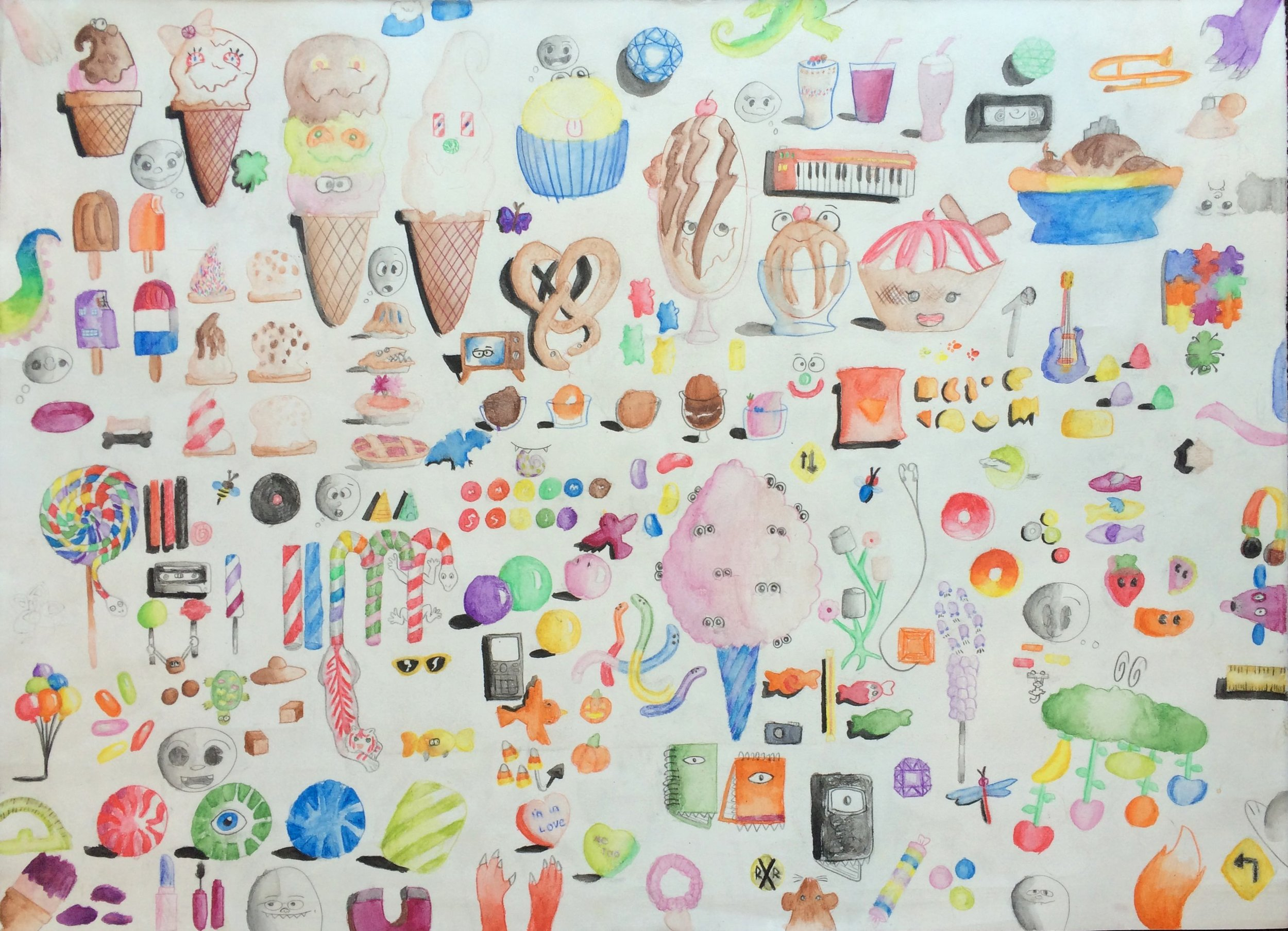 "Myasia Dowdell, Assorted Surprises, 2014, Watercolor on Paper, 19""x24"""
