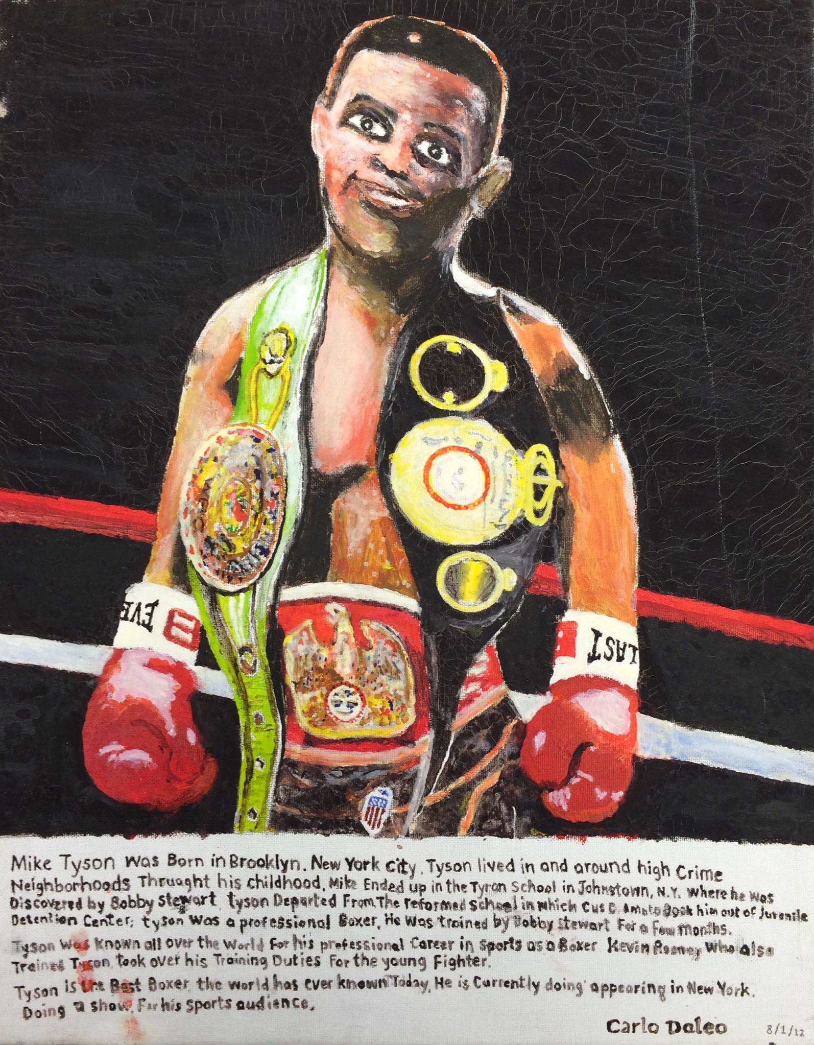 "Carlo Daleo, Mike Tyson, 2012, Acrylic on Canvas Board, 20""x18"""