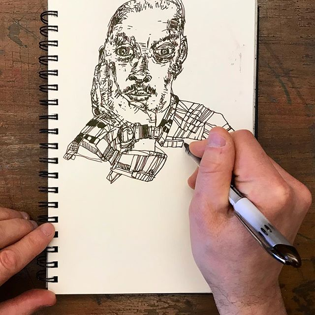 Our fearless founder @bede_murphy drawing #rudybansraj this morning