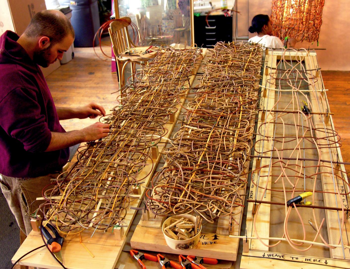 Weaving custom screens.