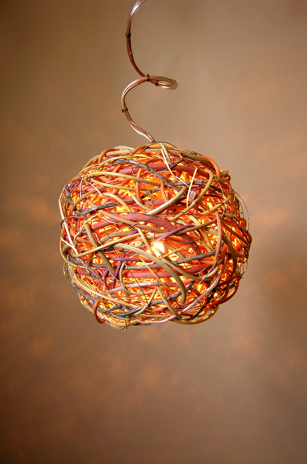 Round Twinkle Pendant Hand Dyed Reed