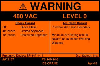 Example D.L. Steiner arc flash Warning label