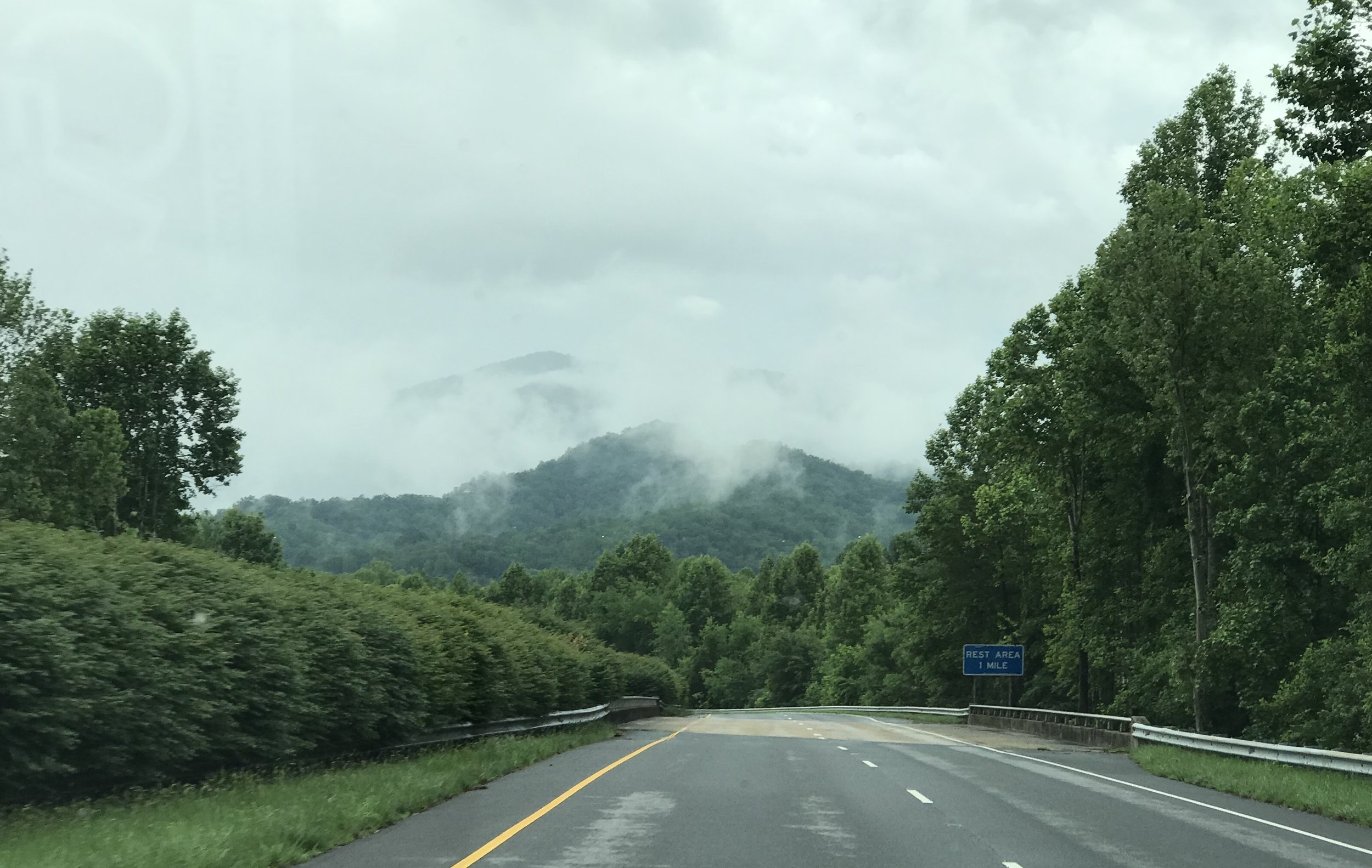 The drive home through the misty mountains of North Carolina