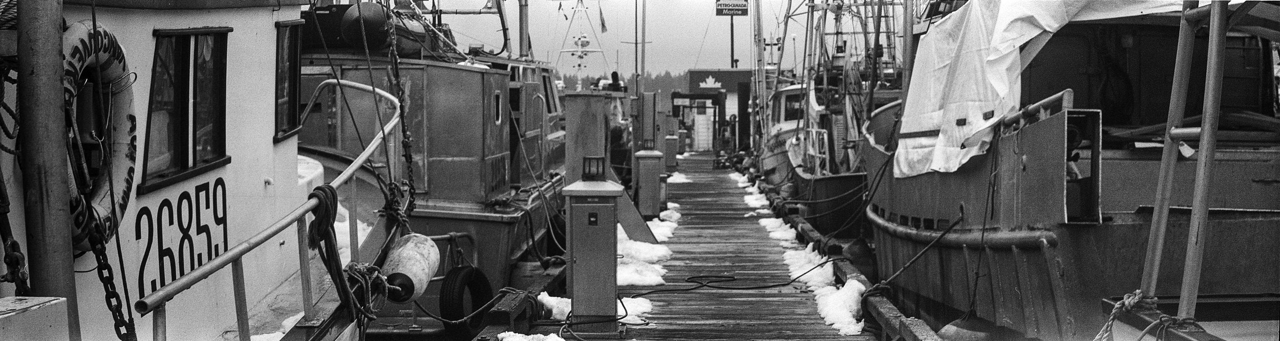 Rare snowfall lining the docks edge.