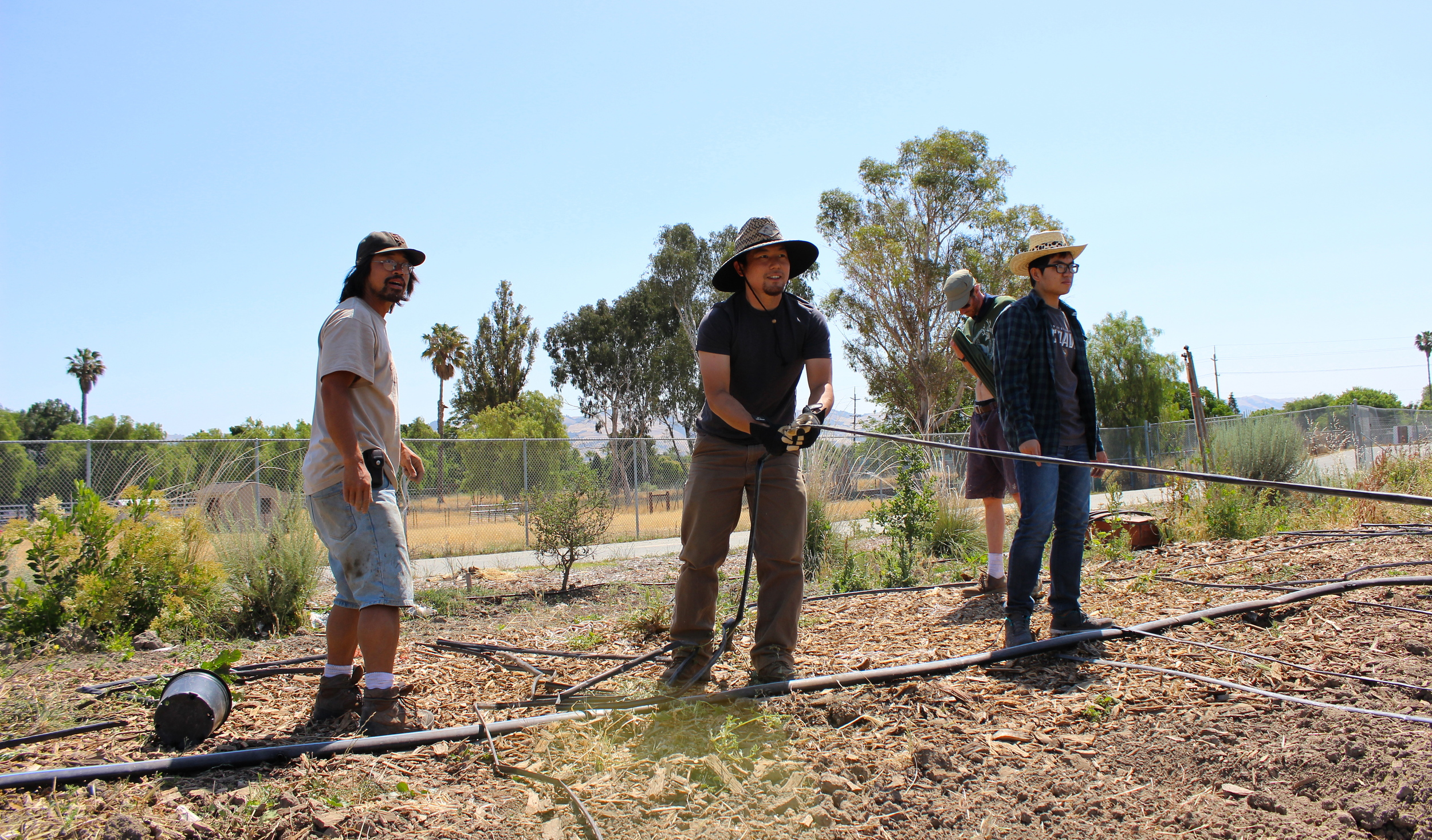 HealthCorps member, Dave, supervises as Gene lays out another irrigation line.