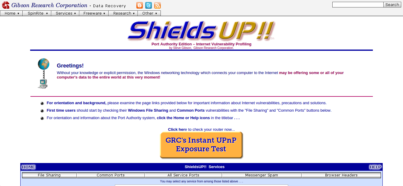 The Instant UPnP Exposure Test at GRC.com