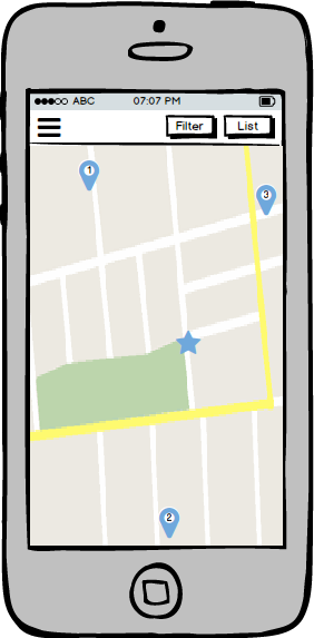 Searching local sales in map view.