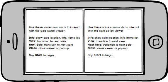 "Voice command information displays after the user says ""help."""