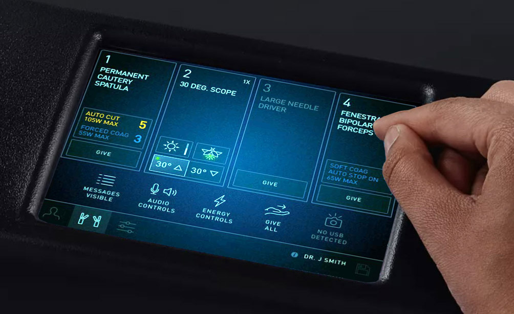 Surgeon console touchscreen with redesigned user interface.