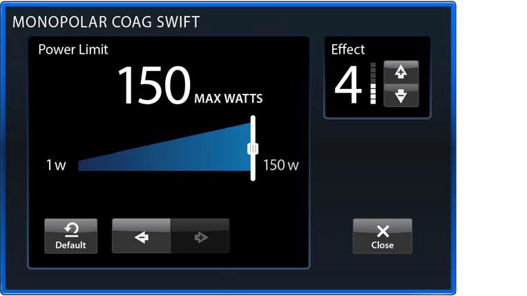 Power limit adjustment window.