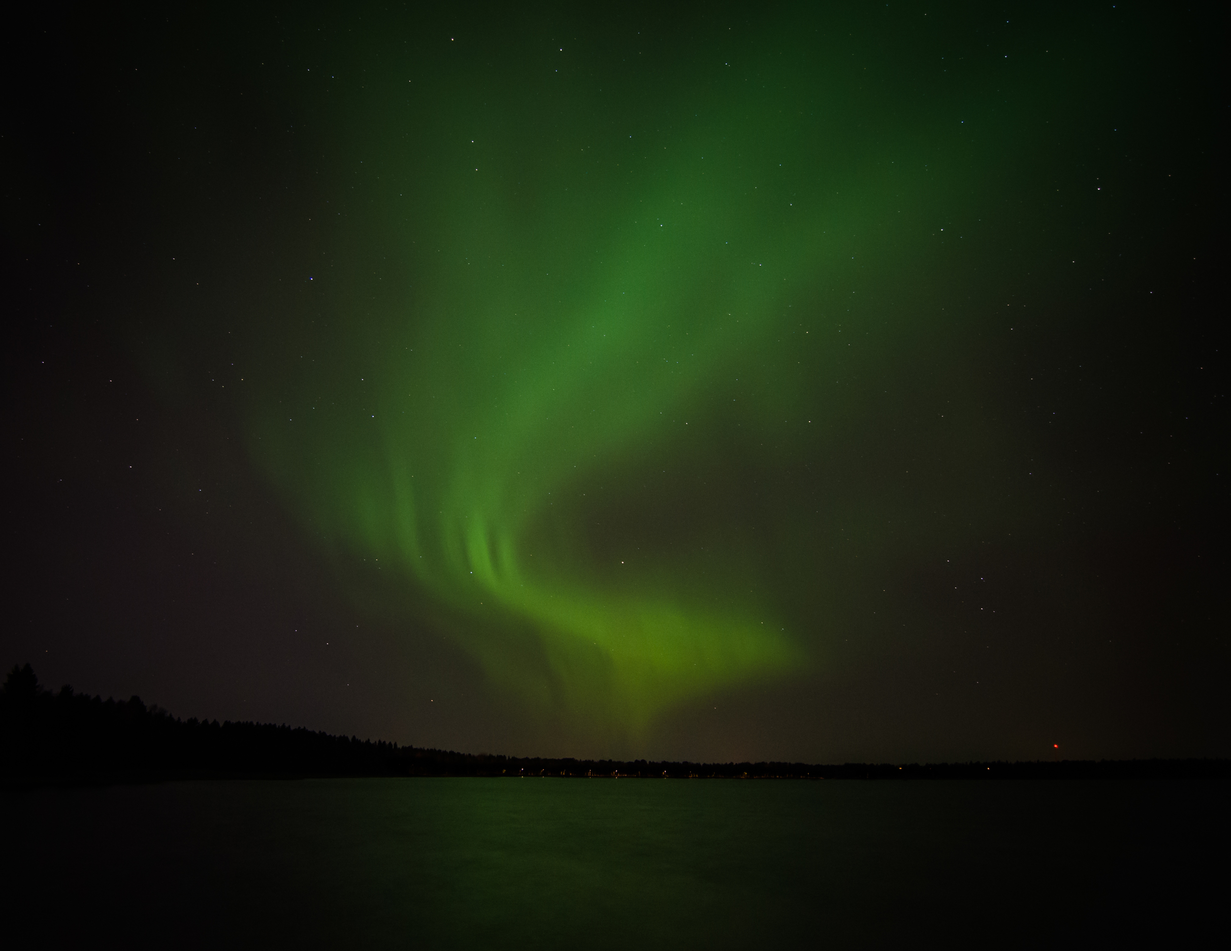 Northern lights over the Kuivasjärvi lake
