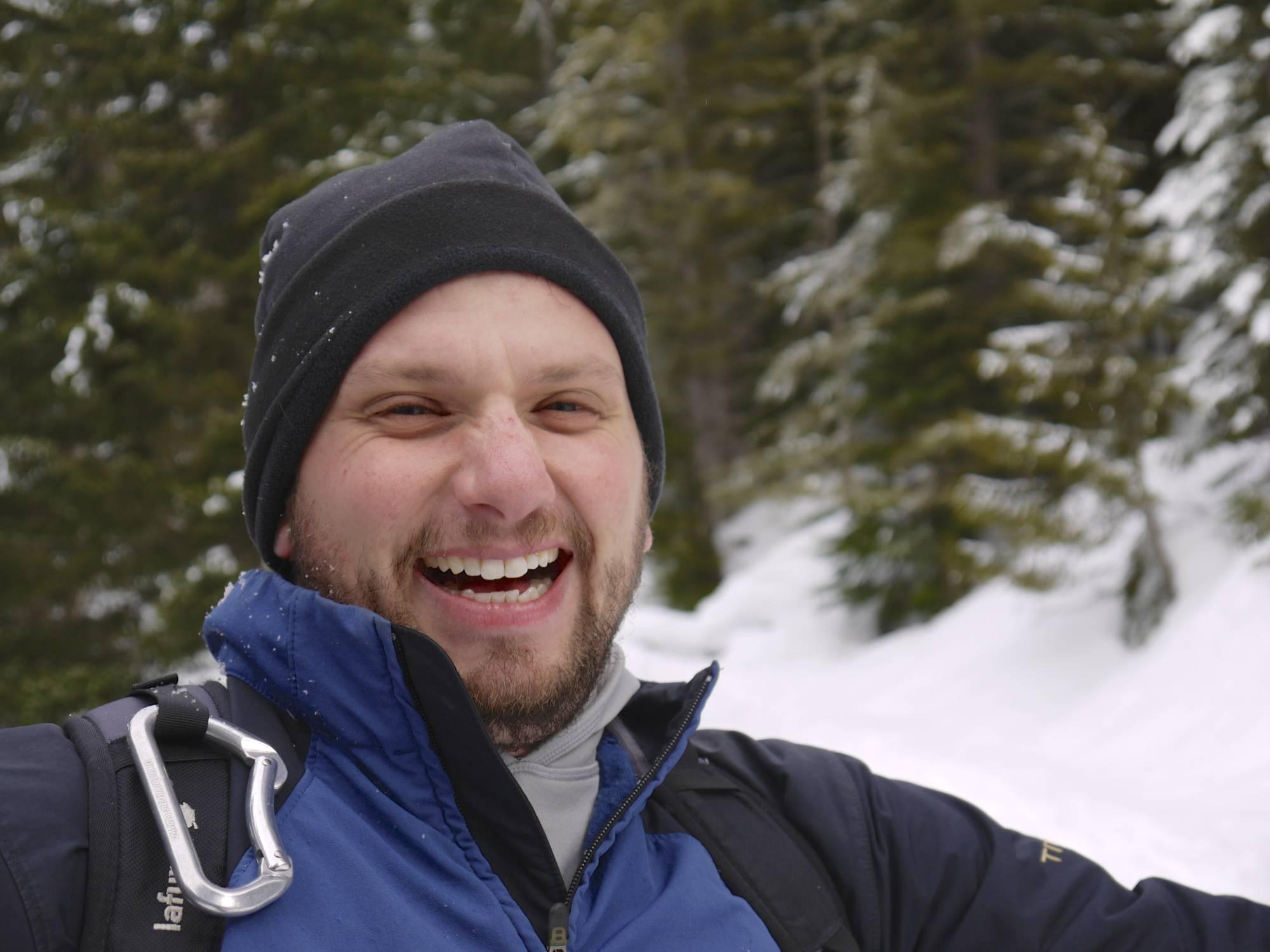Our Wilderness Survival Friend, Aaron (He sure looks happy...)