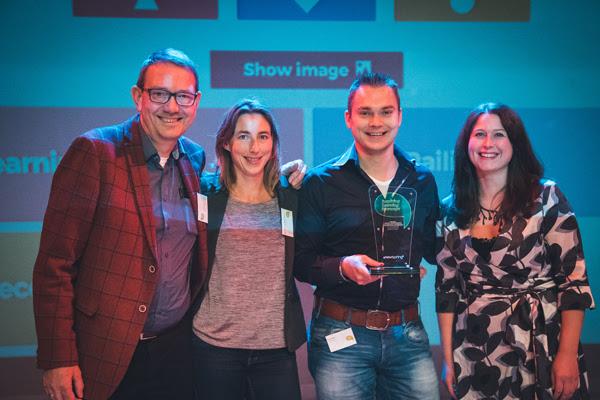 Samen met prijswinnaar Fire Learning en mede-tweede prijs winnaar RailInfra op de feestelijke foto!