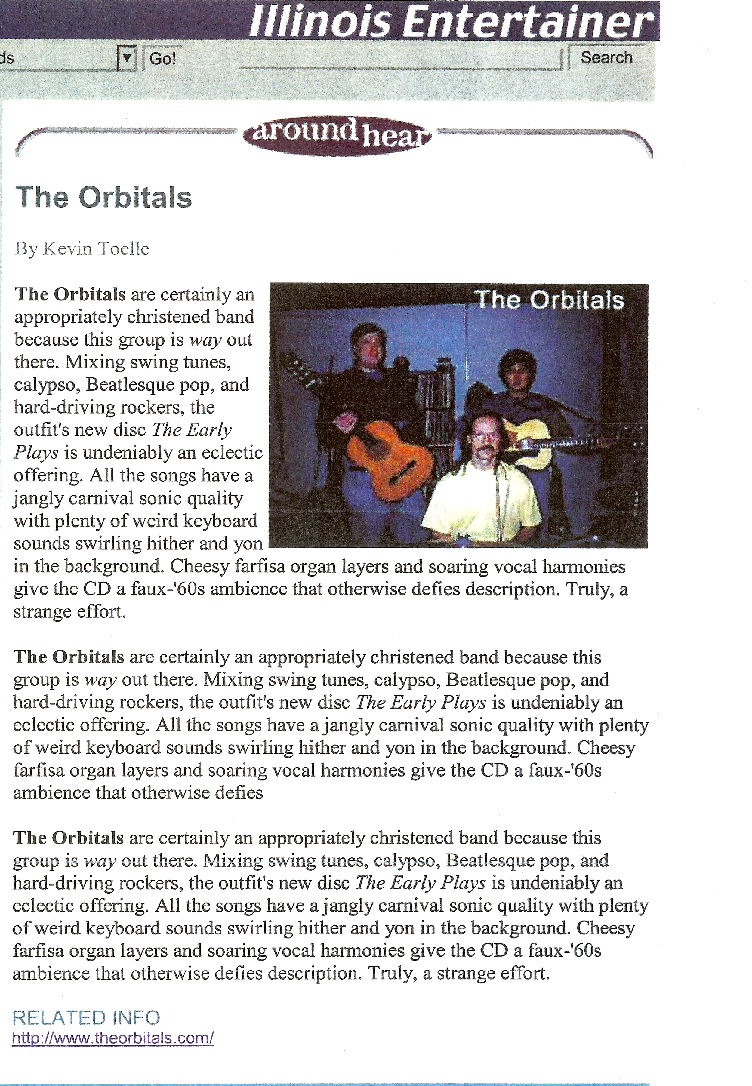 Illinois Entertainer review of The Early Plays by The Orbitals