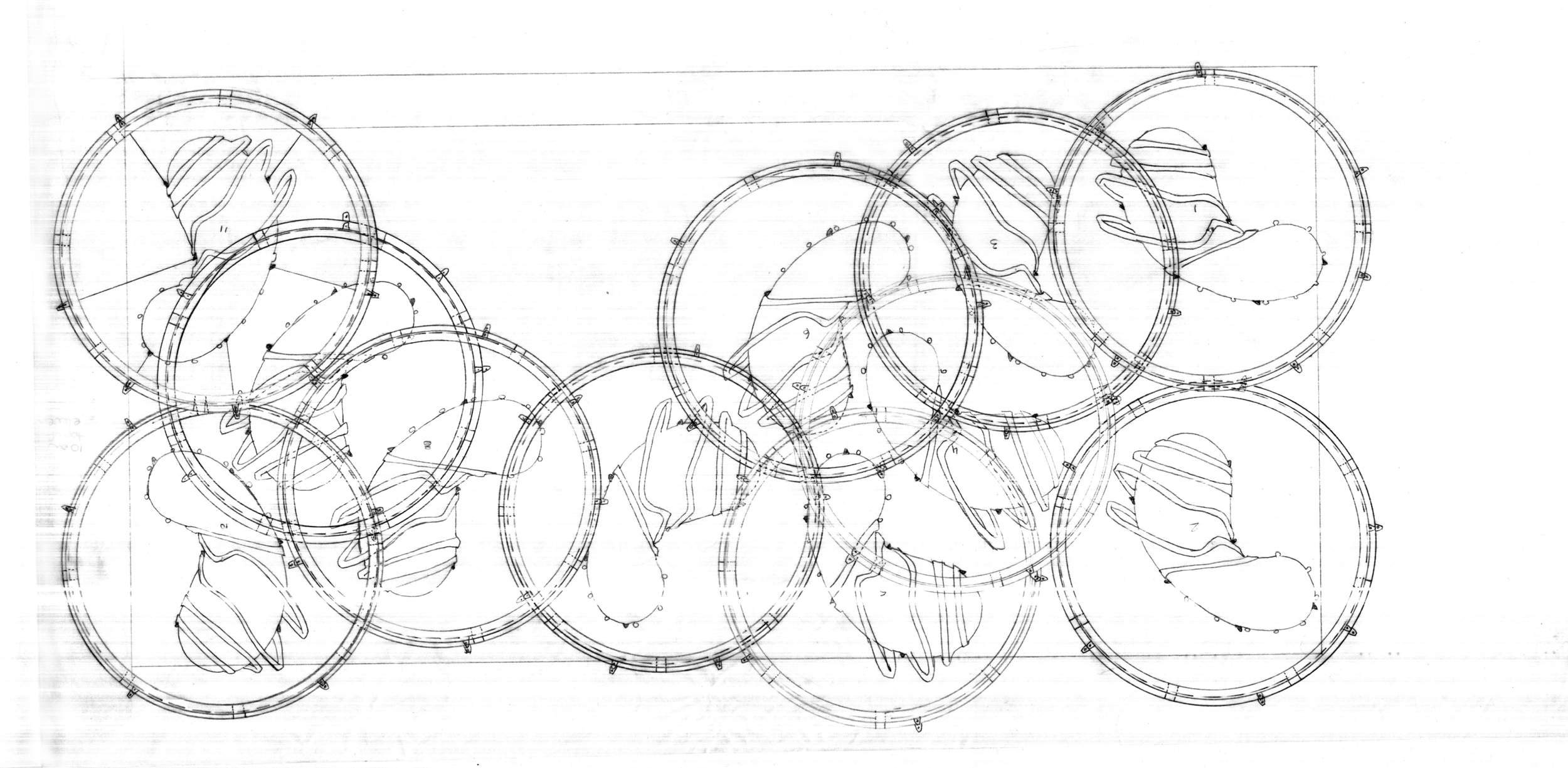Boarding House, ring beam plan, graphite on tracing paper, 2008
