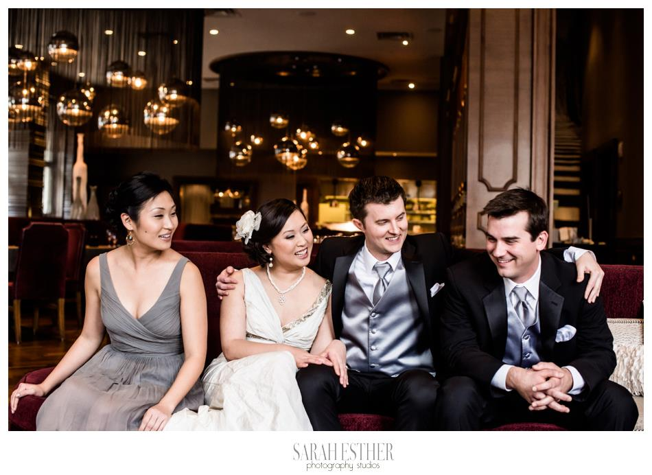 The beautiful bridal party, consisting of the couple's two closest friends.