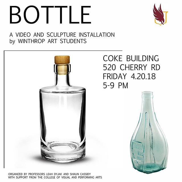 """TOMORROW NIGHT!!! Don't miss the opening of """"Bottle,"""" an exhibition creature god Winthrop Fine Arts photo, video and sacyloture undergraduates and graduates! At the Coke Building (520 Cherry Rd) from 5-9pm. This is going to be one outstanding show you will NOT want to miss!! #winthropfinearts #winthropart #photography #video #sculpture #paintings #oldbuilding #artexhibition"""