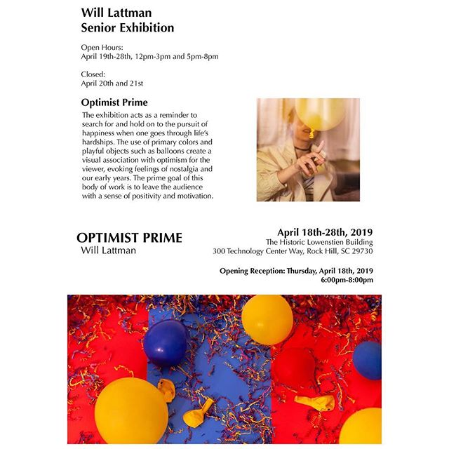 "Each day leading up to ""Synthesis,"" the Senior Fine Arts Exhibition, we will highlight one student exhibiting in the show. Today's student is Will Lattman, photography.  Join us as we recognize these talented young artists April 18 from 6-8 p.m."