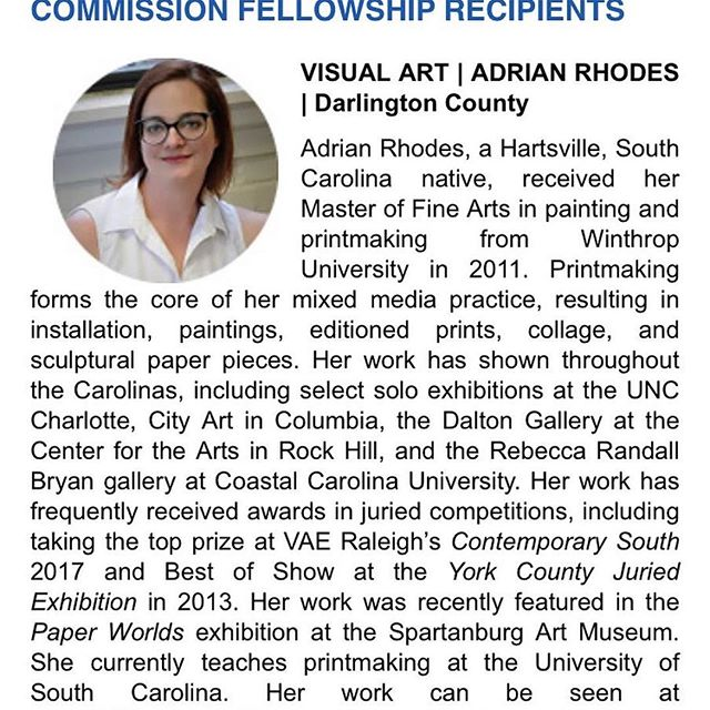 Another award for WU alum @adrian_rhodes! Congrats Adrian! #wualum #winthropuniversity #winthropart #artswinthrop #Repost ・・・ I am honored and excited to be the recipient of the FY20 South Carolina Arts Commission Individual Artist Fellowship. #scartscommission #adrianrhodes #printmaking #installation #visualart #fellowship #thankyou