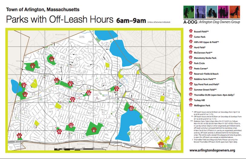 Arlington, MA Parks with Off Leash Hours