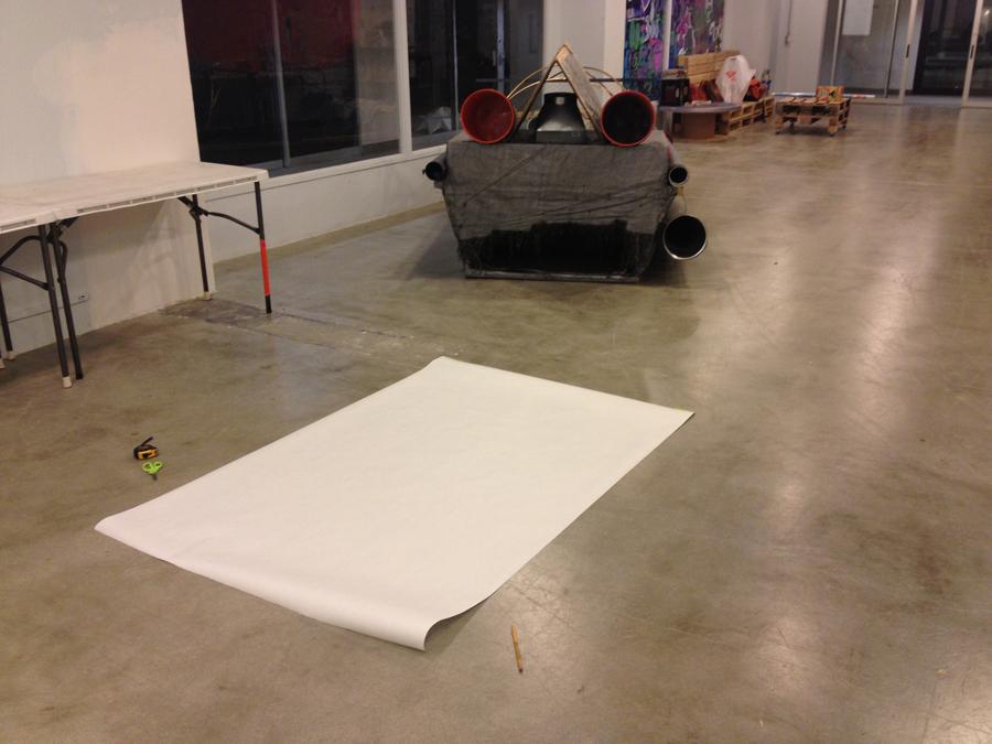 Empty canvas & rocket sled.