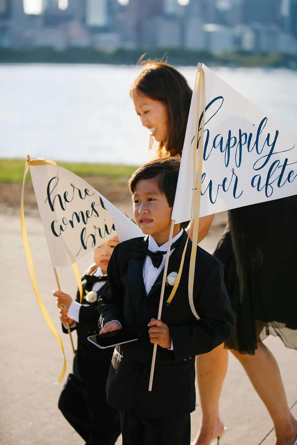 lakefront_wedding_chicago_calligraphy_flag_banner_happily ever after.jpg