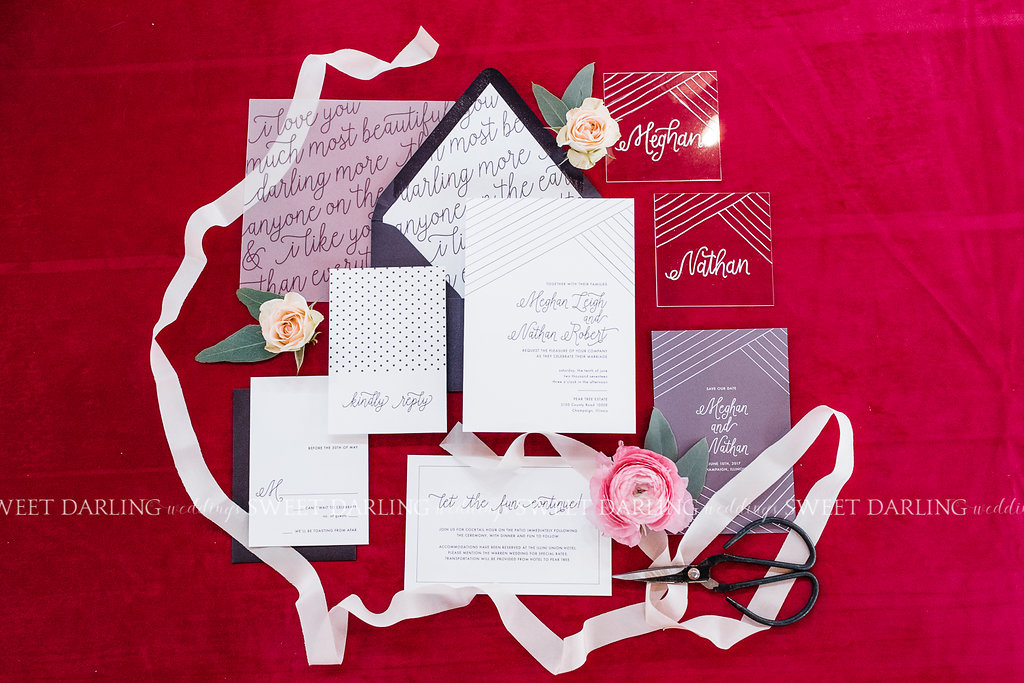 wedding invitation suite stationery garden romantic pink plum bright.jpg