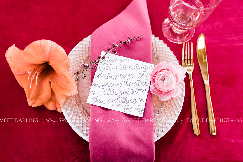 bright colorful wedding place setting quote calligraphy.jpg