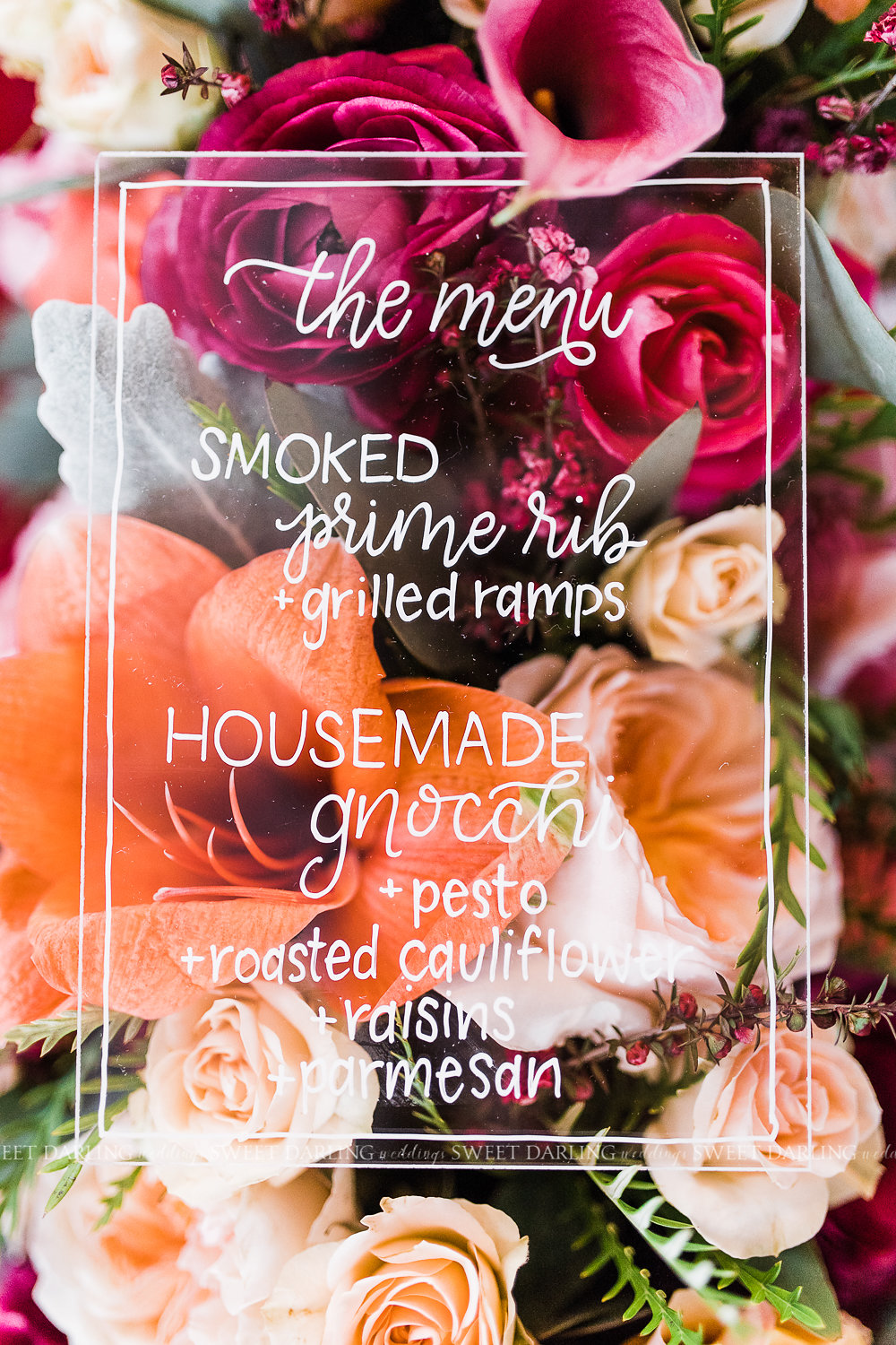 acrylic wedding menu hand lettered white calligraphy florals pink bright.jpg