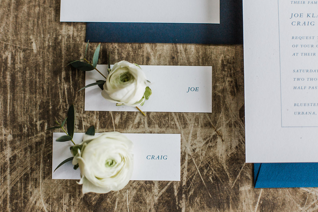 same sex wedding invitation with floral place cards