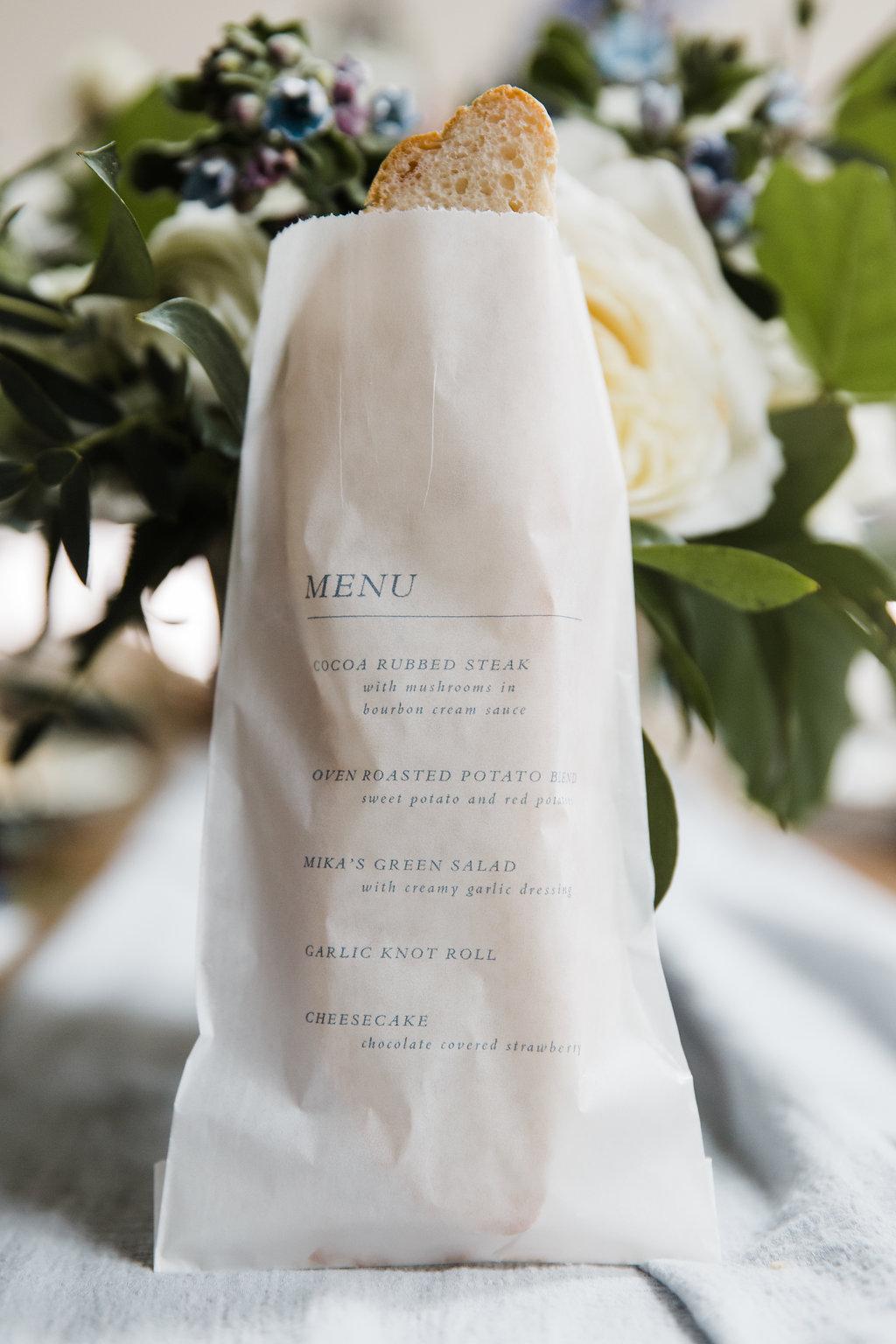 dinner menu printed on glassine bag for bread favor