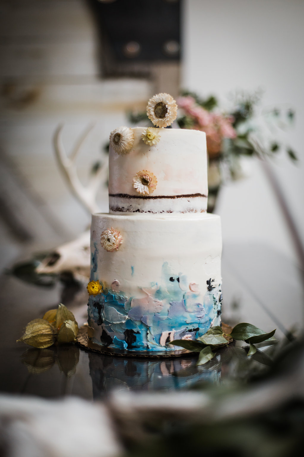 wedding cake with abstract floral design
