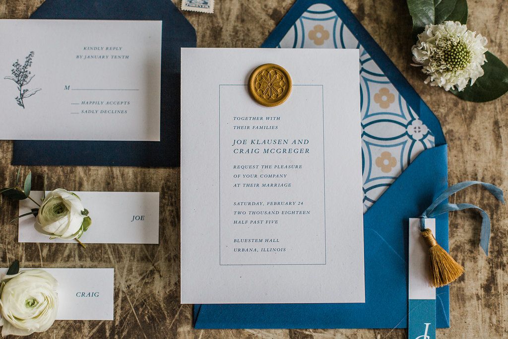 Navy Wedding invitation gold wax seal gay wedding champaign