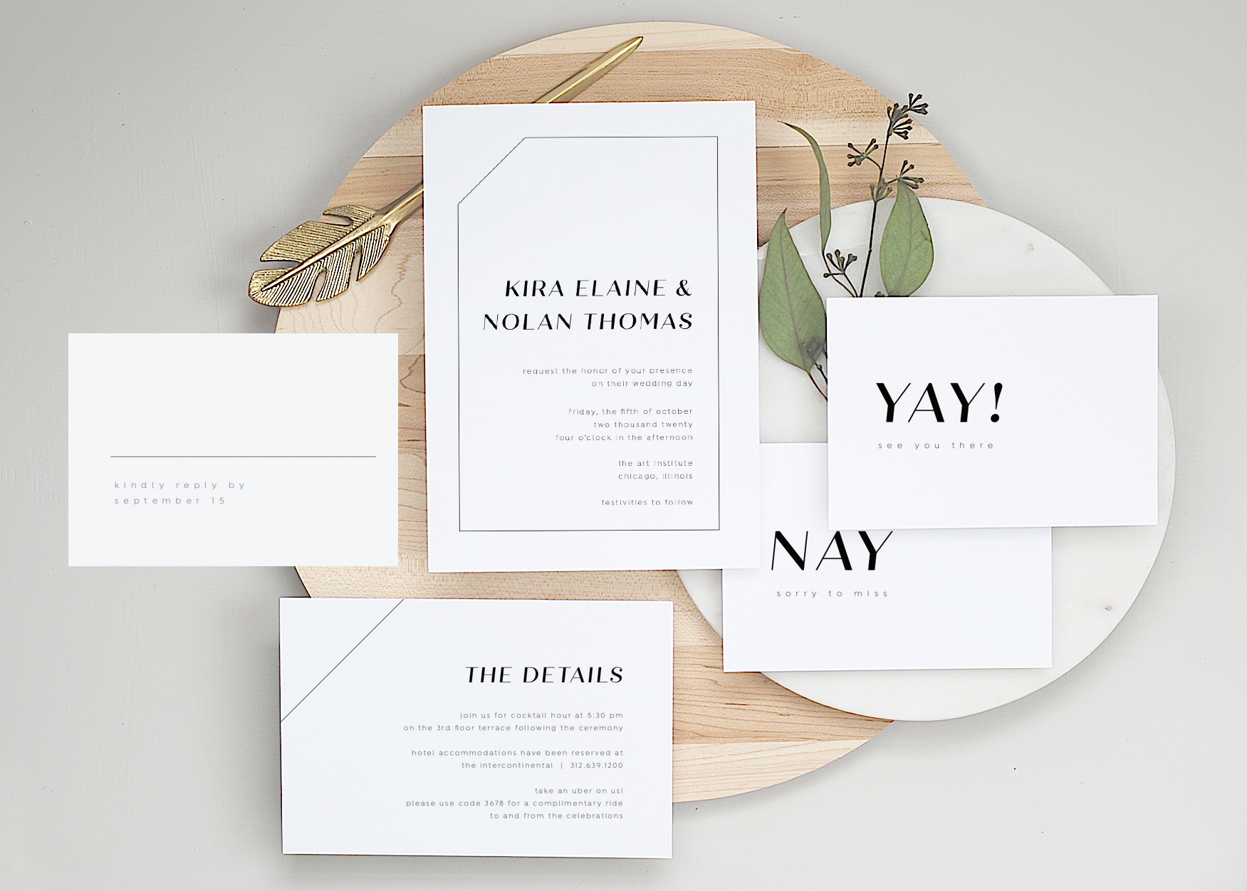 """The Essentials - Looking for a stylish AND budget-friendly invitation option? """"The Essentials"""" packages give you everything for a successful invitation assembly line. INCLUDING envelope addressing and complimentary shipping. All you have to do is assemble, pop on postage and drop them at in the mail!"""