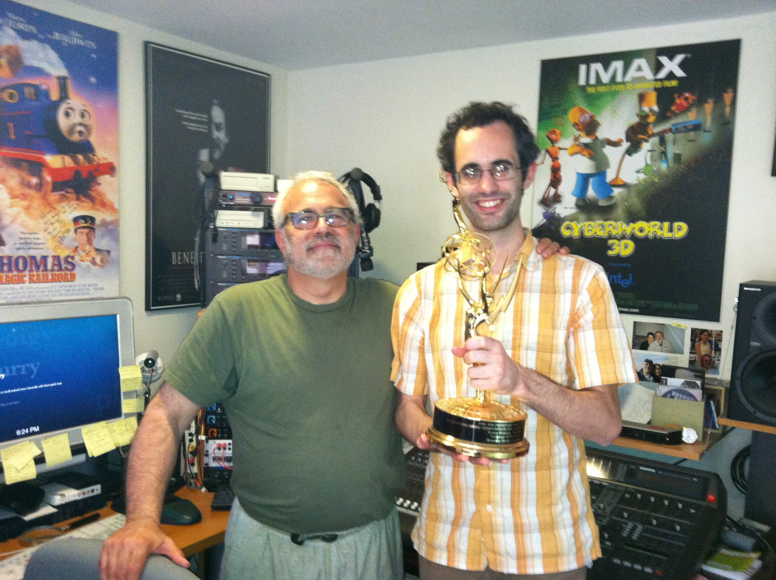 "This is me holding my ""future emmy"" with my oh so awesome teacher: Doctor Hummie Mann :)"
